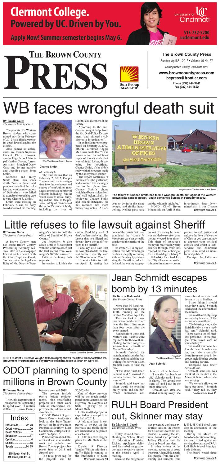 Ohio brown county sardinia - The Brown County Press April 21 2013 By Clermont Sun Publishing Company Issuu