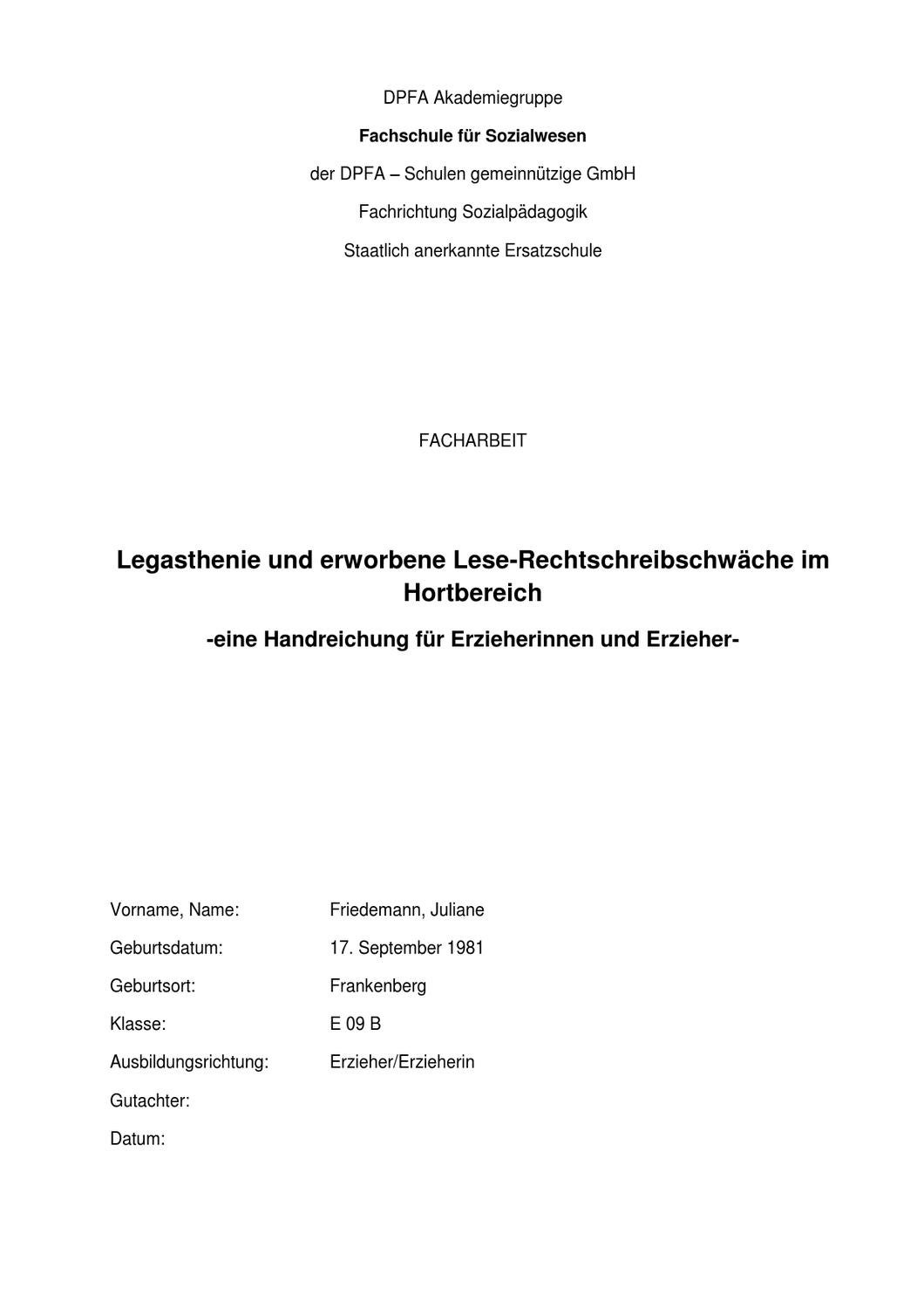legasthenie by dyslexia research center issuu - Facharbeit Erzieher Beispiel