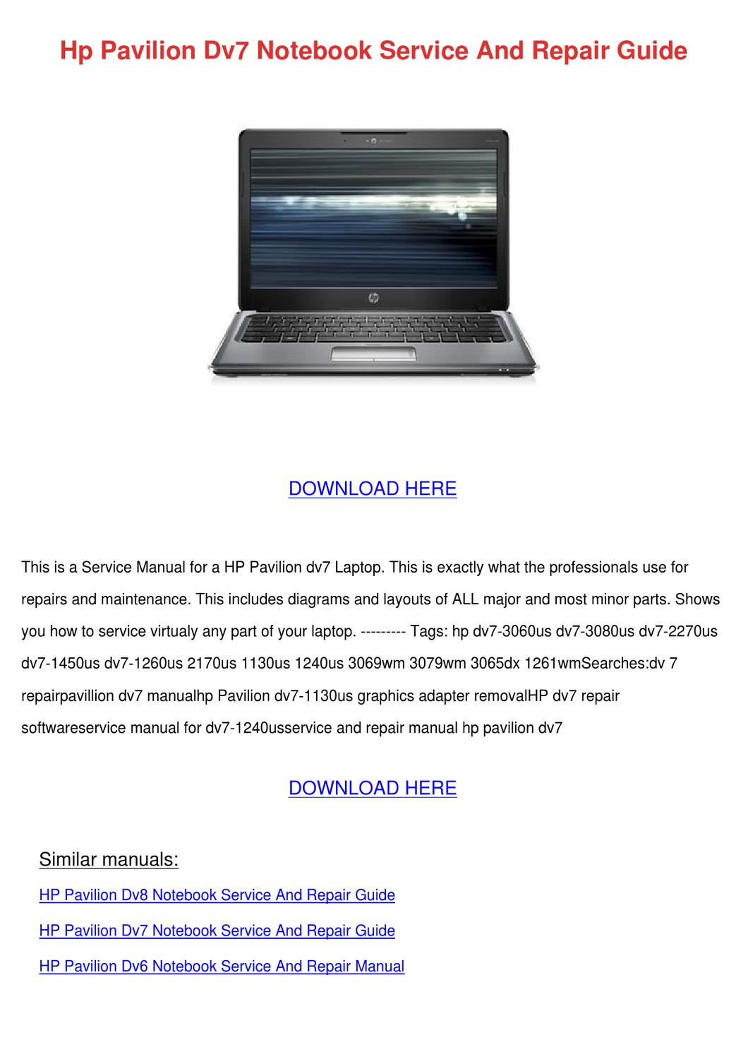 Hp Pavilion Dv7 Notebook Service And Repair G by Anglea Genuario - issuu