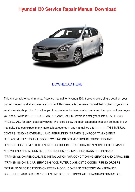 Hyundai I30 Service Repair Manual Download By Katrina Scholle Issuu Timing Belt Engine Diagram