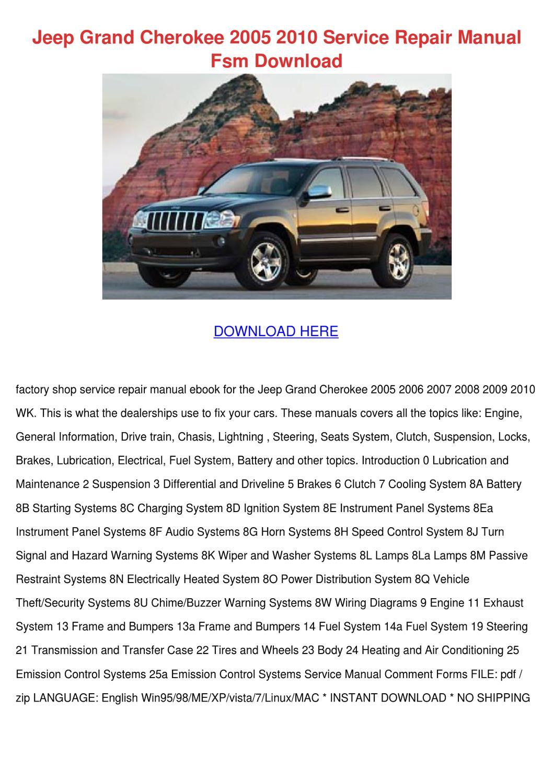 Jeep Grand Cherokee 2005 2010 Service Repair by Katrina Scholle ...