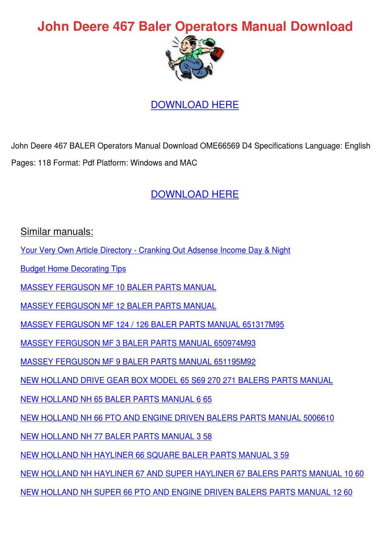 Mf 124 Baler Operators manual