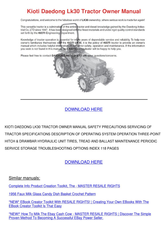 Kioti Daedong Lk30 Tractor Owner Manual by Katrina Scholle - issuu