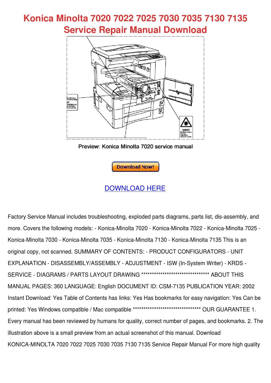 Konica 7022 Instruction manual