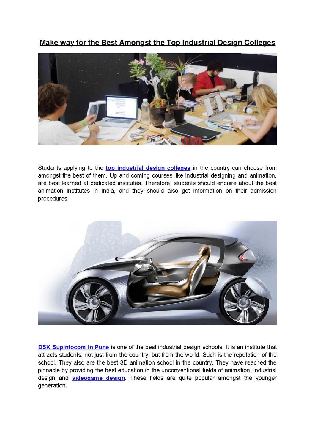 Make Way For The Best Amongst The Top Industrial Design Colleges By Dsk Supinfocom Issuu