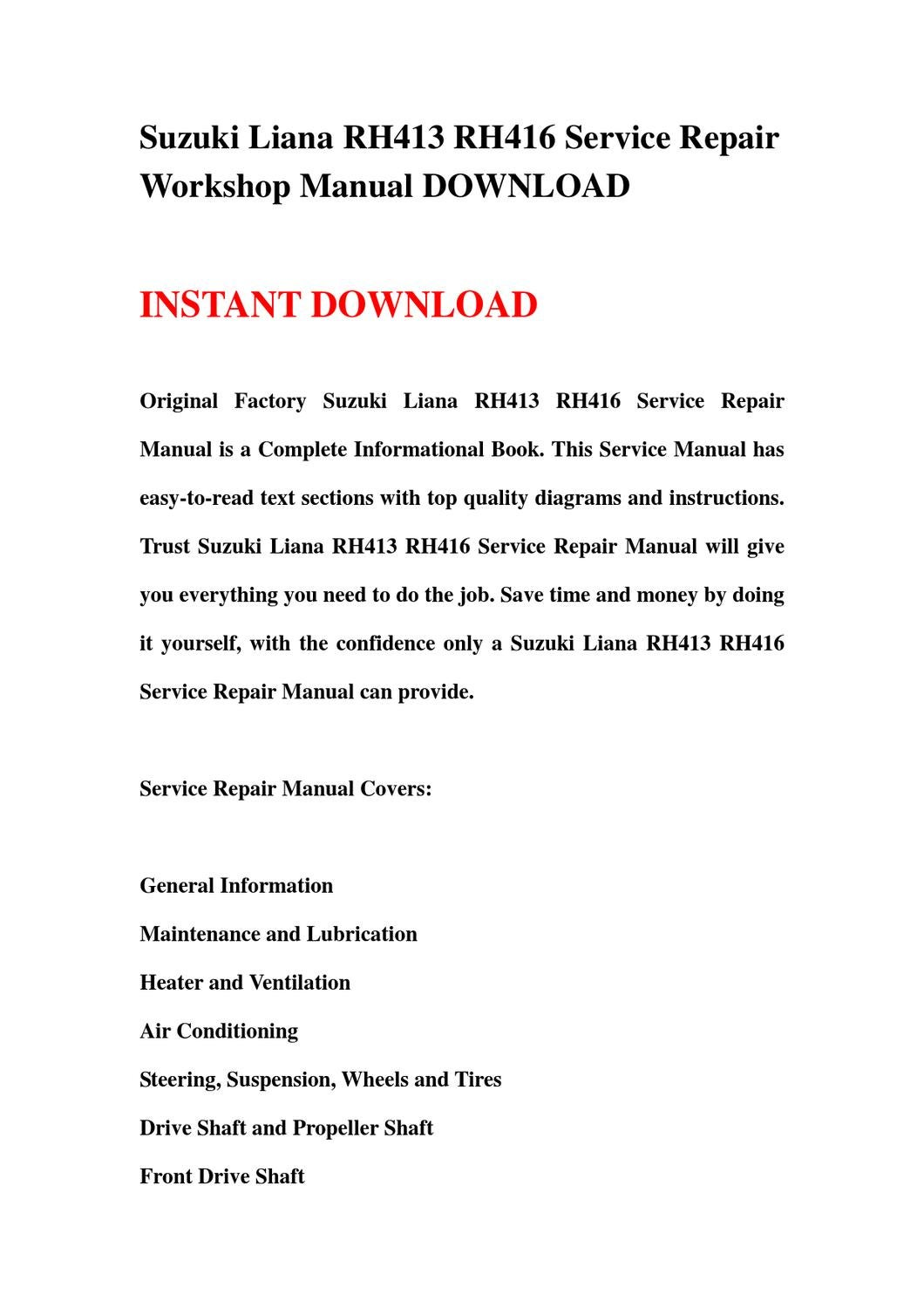 Suzuki Liana Rh413 Rh416 Service Repair Workshop Manual