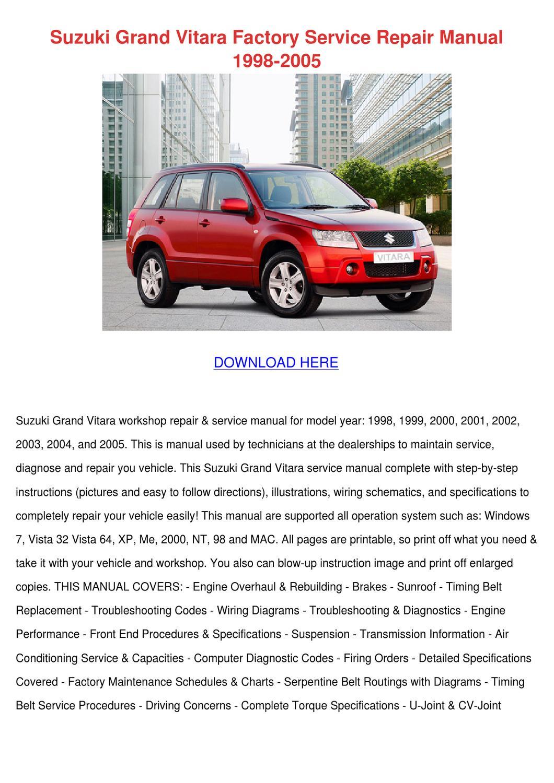 Suzuki Grand Vitara Factory Service Repair Ma By Dinorah Crossno Issuu Electrical Wiring Diagram