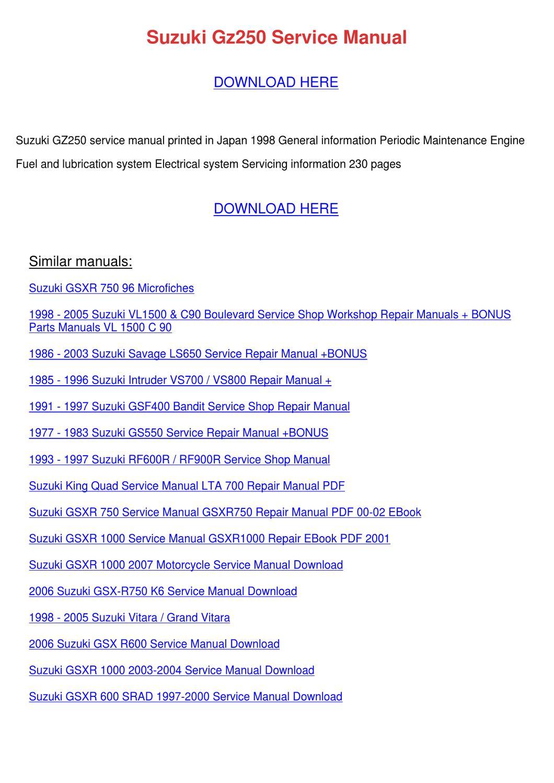 Suzuki Gz250 Service Manual By Eulah Schum
