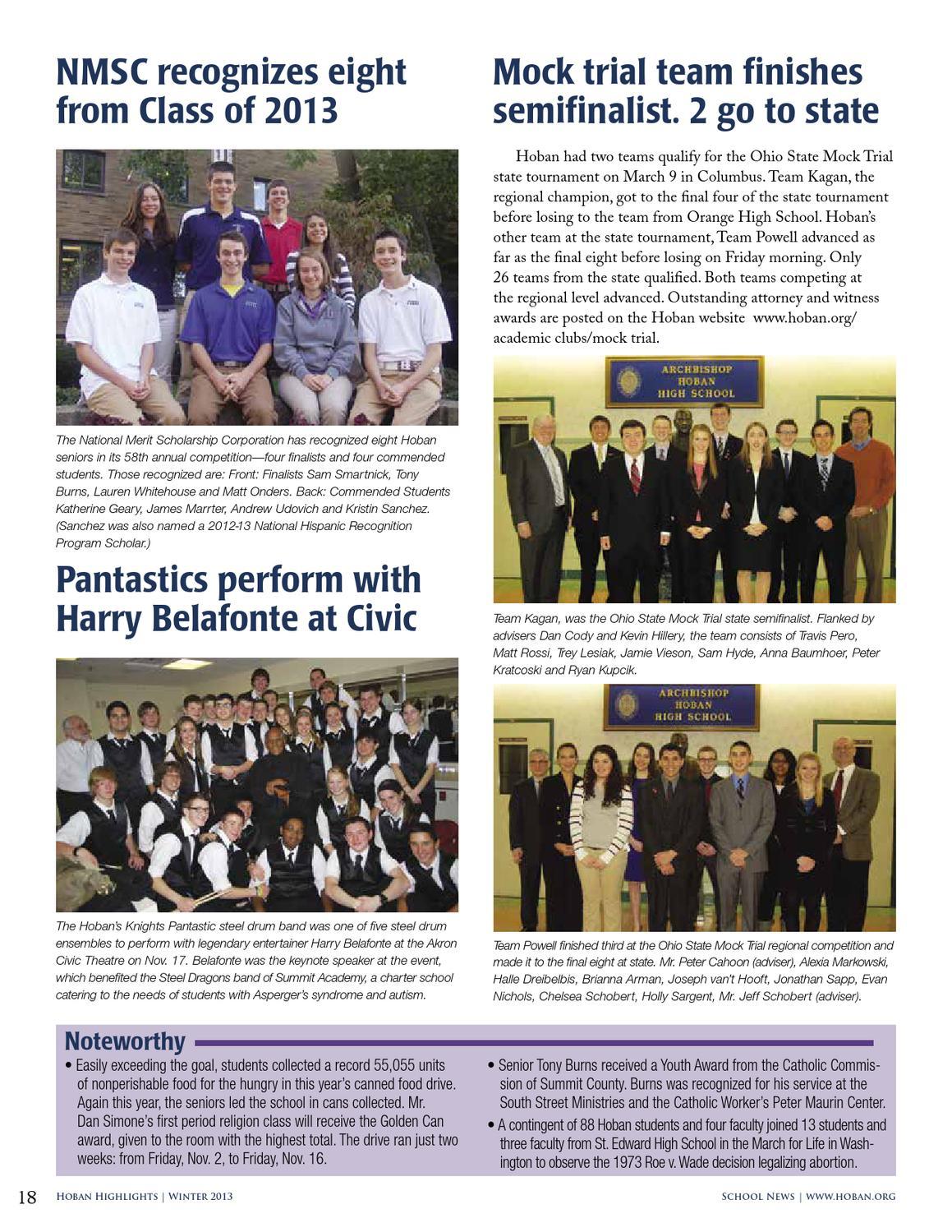 Hoban Highlights WInter 2013 by Archbishop Hoban High School - issuu