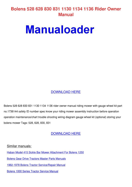 Service Manual For Bolens G10 Samsung Sgh I900 Factory Manuals Riding Mower Array 528 628 830 831 1130 1134 1136 Rider O By Lavonda Alcivar Issuu