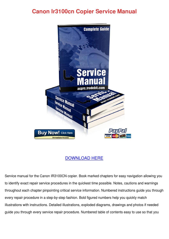 Canon Ir3100cn Copier Service Manual by Lavonda Alcivar - issuu