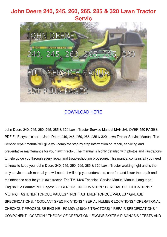 John Deere 240 245 260 265 285 320 Lawn Tract by Shaunda Schwanz ...