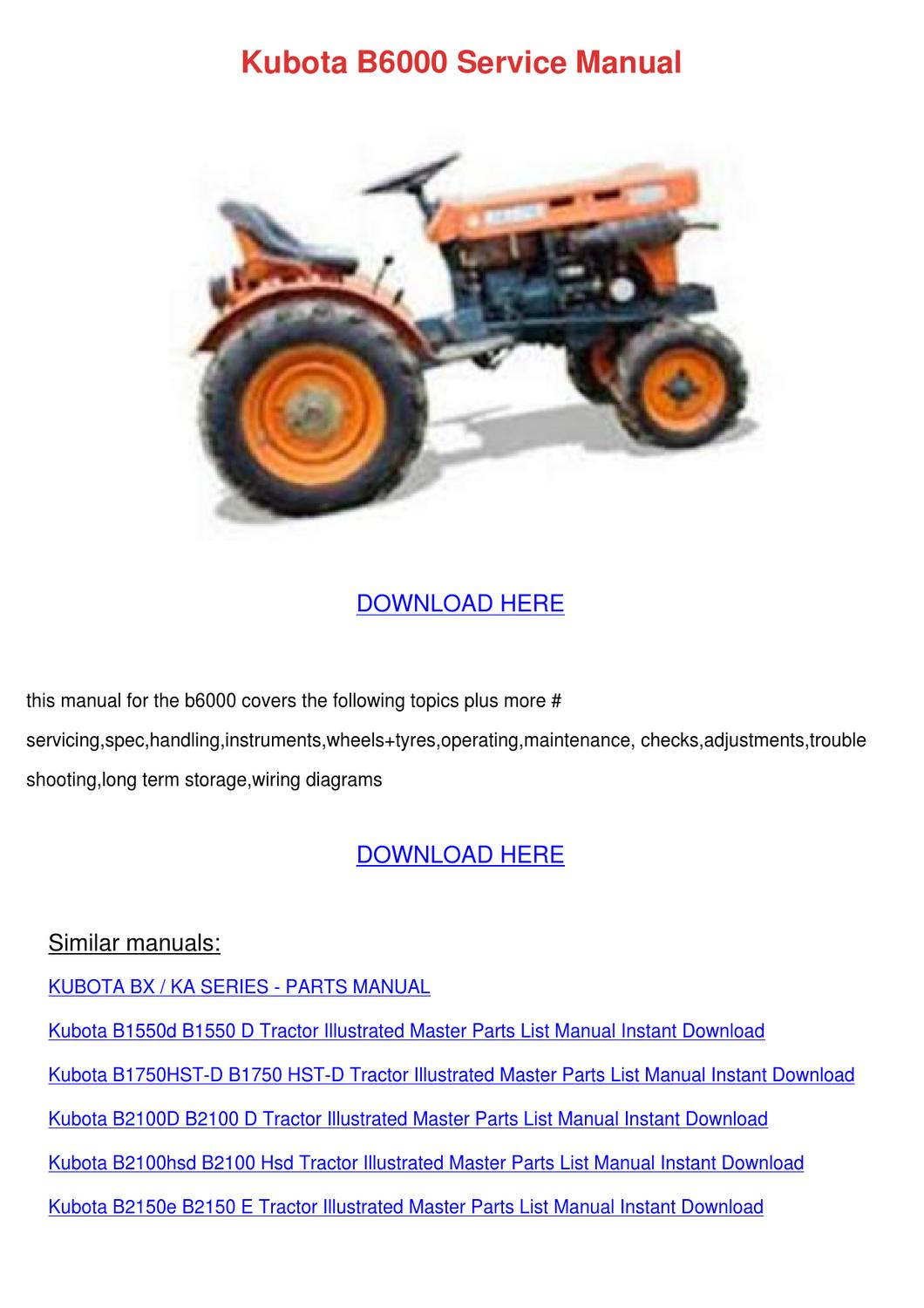 Kubota B6000 Service Manual By Shaunda Schwanz