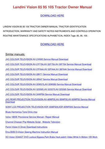 Landini Vision 85 95 105 Tractor Owner Manual by Shaunda Schwanz - issuuIssuu