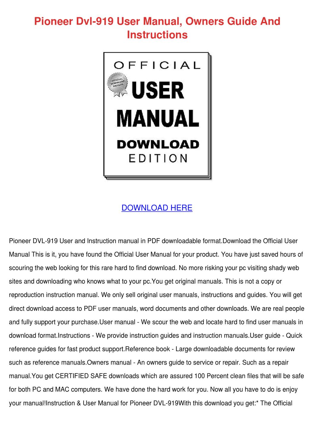 Pioneer Dvl 919 User Manual Owners Guide And by Caryl Wehr - issuu