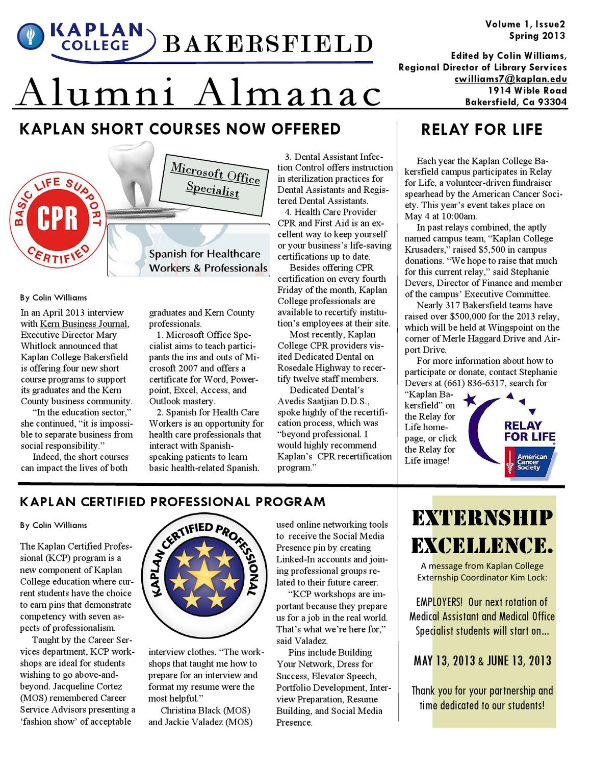1 1 bakersfield alumni almanac newsletter by kaplan college issuu 1betcityfo Image collections