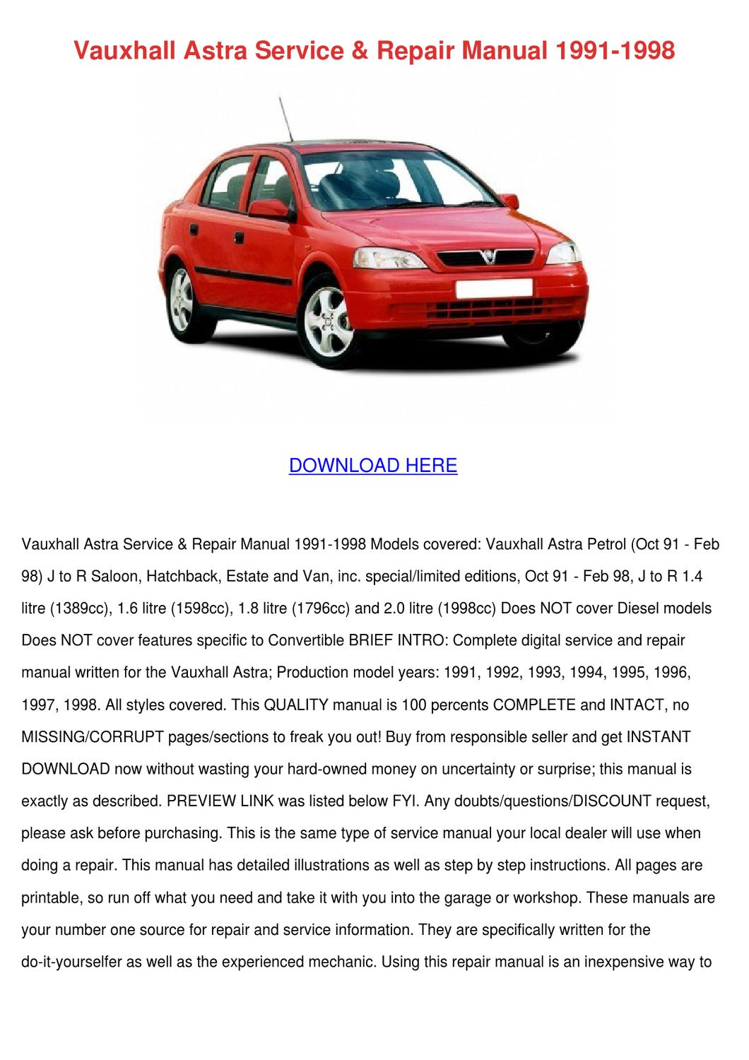 Vauxhall Astra Service Repair Manual 1991 199 by Cecily Foti - issuu