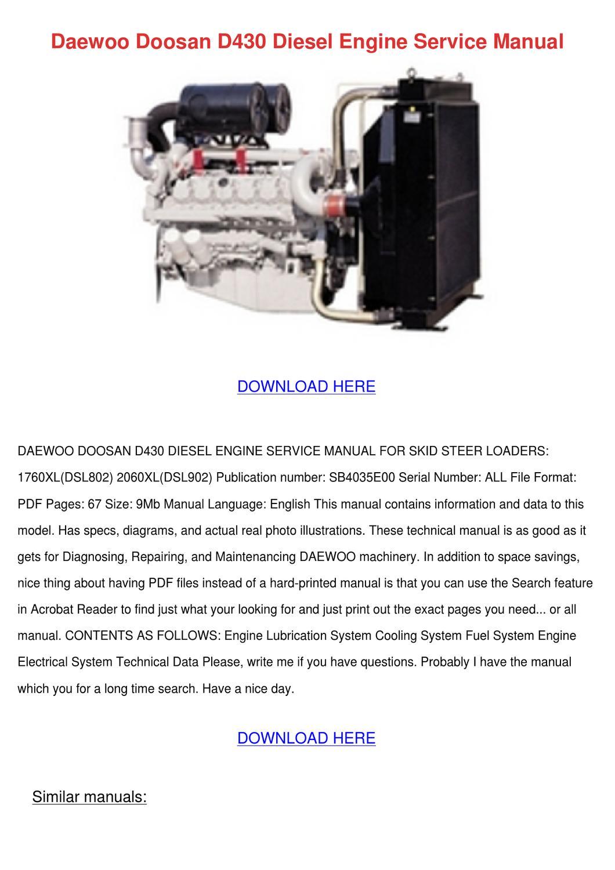 Daewoo Doosan D430 Diesel Engine Service Manu By Shakita