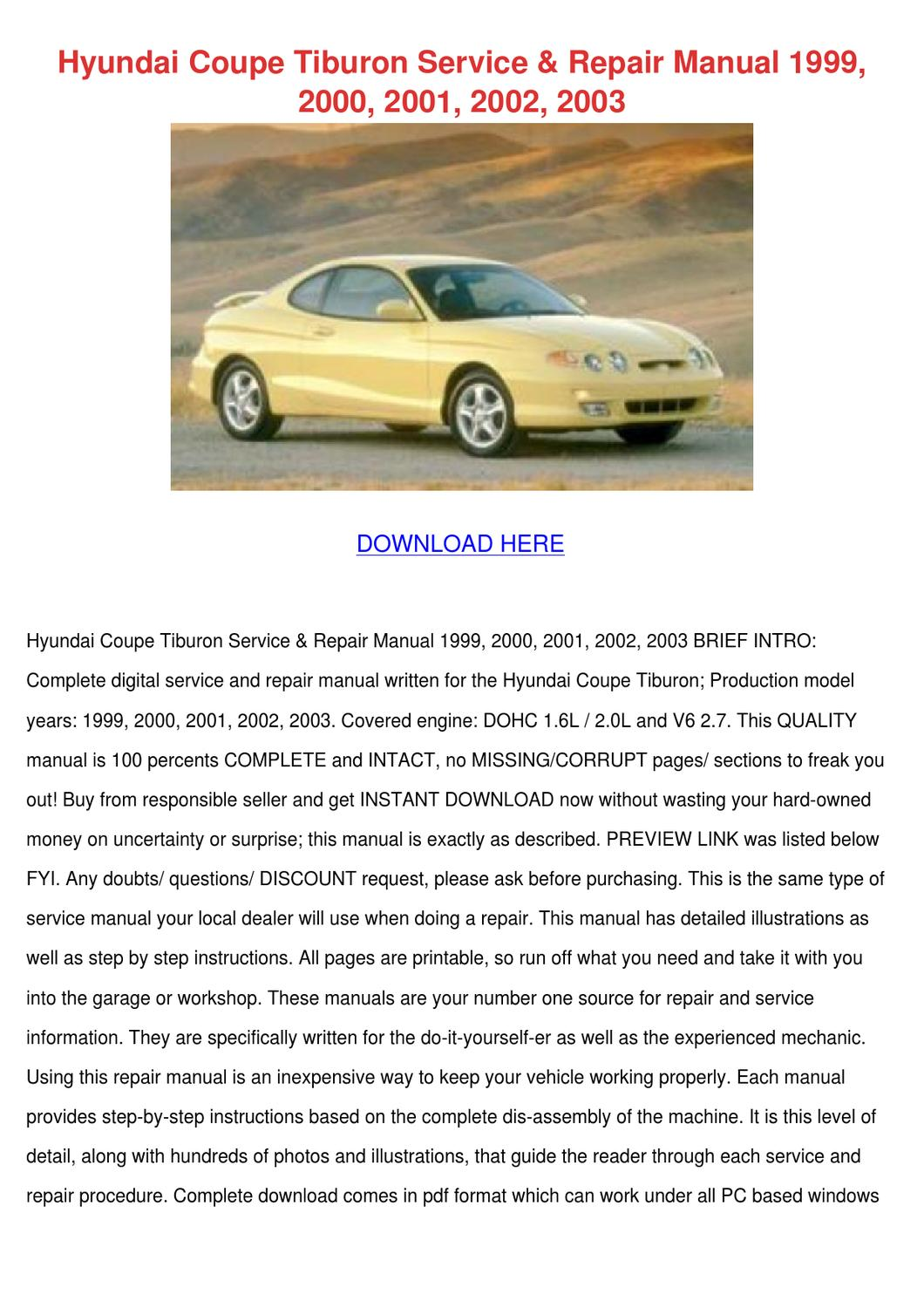 Hyundai tiburon owners manual 2003
