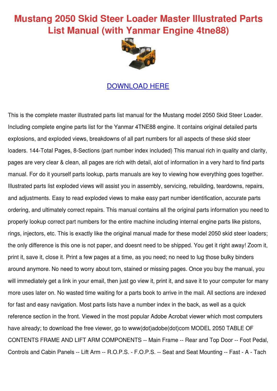 Mustang 2050 Skid Steer Loader Master Illustr by John JohnChimento ...
