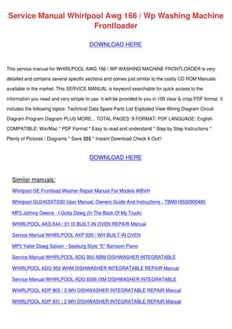 Service manual whirlpool awg 166 wp washing m by vena aubertine issuu service manual whirlpool awg 166 wp washing machine frontloader download here solutioingenieria Gallery