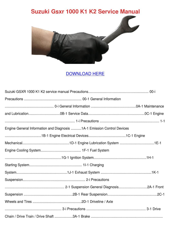 Suzuki Gsxr 1000 K1 K2 Service Manual by Wendy Koppang - issuu
