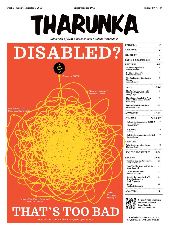Tharunak Issue  4, Vol 59, 2013 by Tharunka - issuu