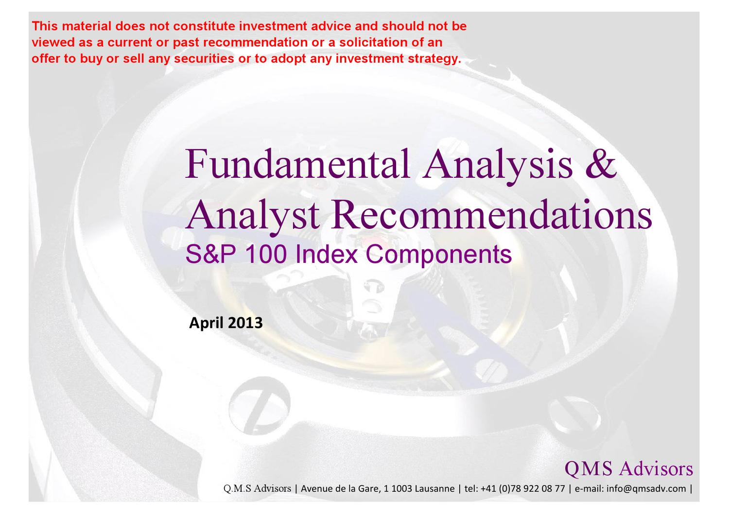 Fundamental Equity Analysis - S&P 100 Index Components (OEX