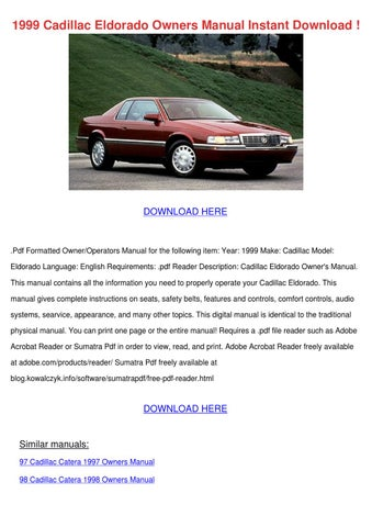 1999 cadillac eldorado owners manual instant by kattie macedonio issuu rh issuu com 1998 cadillac deville service manual 1998 cadillac eldorado repair manual