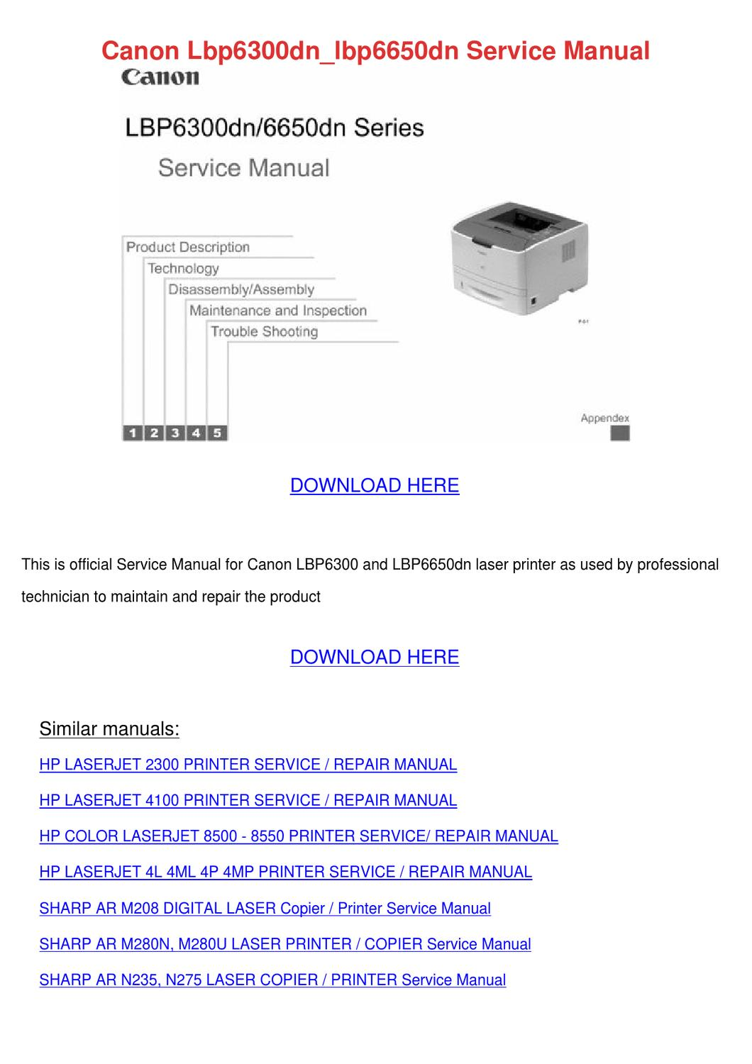 Canon Lbp6300dnlbp6650dn Service Manual By Kattie Macedonio Issuu