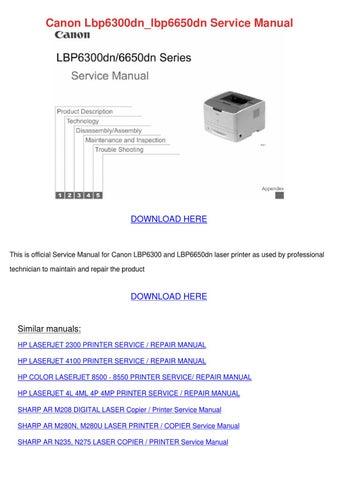 Canon Lbp6300dnlbp6650dn Service Manual by Kattie Macedonio - issuu