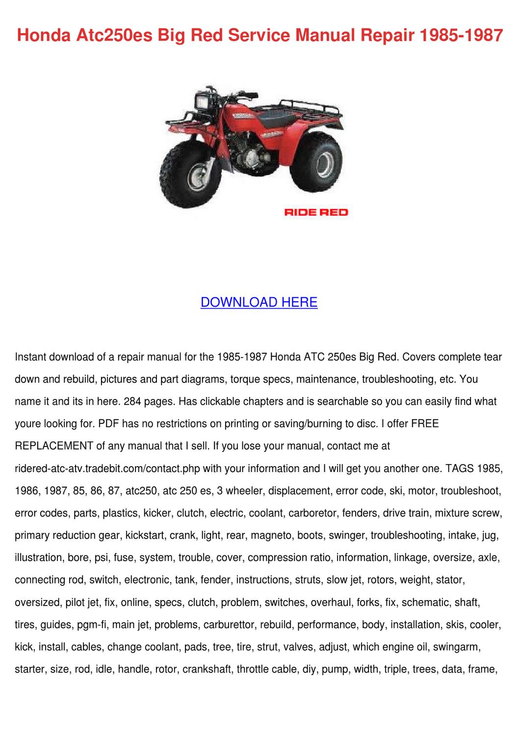 honda atc250es big red service manual repair