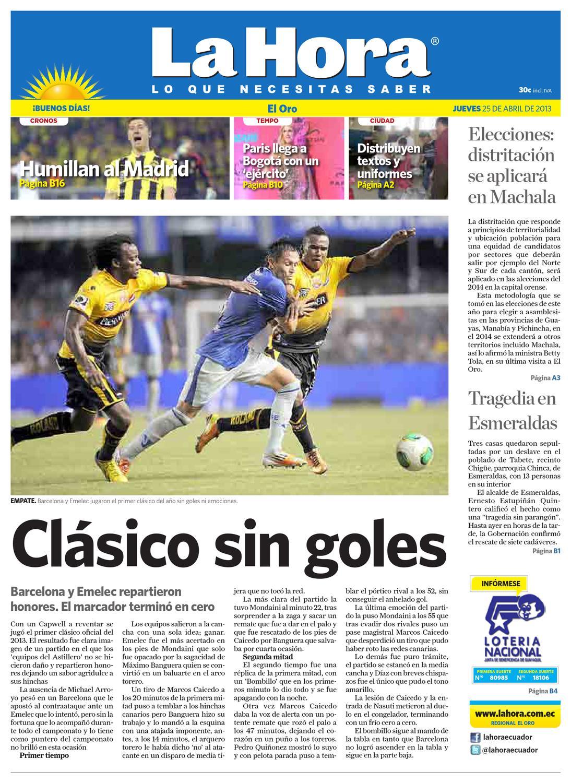 Diario La Hora El Oro 25 De Abril 2013 By Diario La Hora Ecuador  # Hassan Muebles Gavilan
