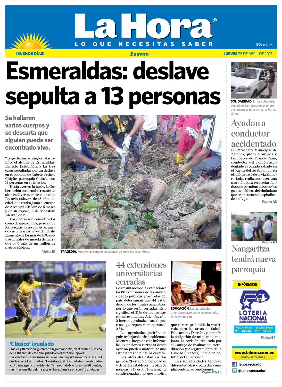 Diario La Hora Zamora 25 De Abril 2013 By Diario La Hora Ecuador  # Hassan Muebles Gavilan