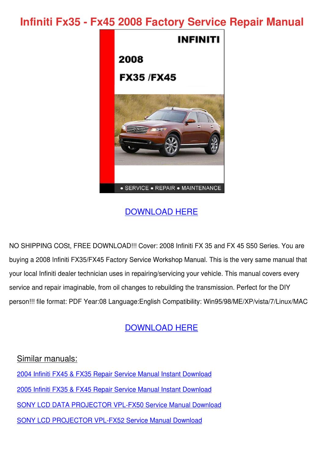 Infiniti Fx35 Fx45 2008 Factory Service Repai by Dulcie Stanchfield - issuu