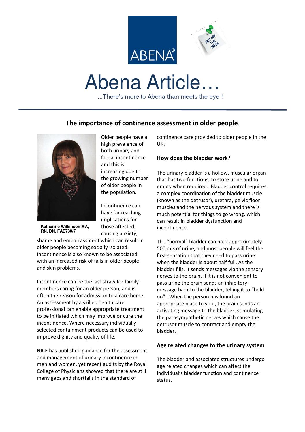 Abena Urinary Incontinence In Older People By Abena Marketing Issuu