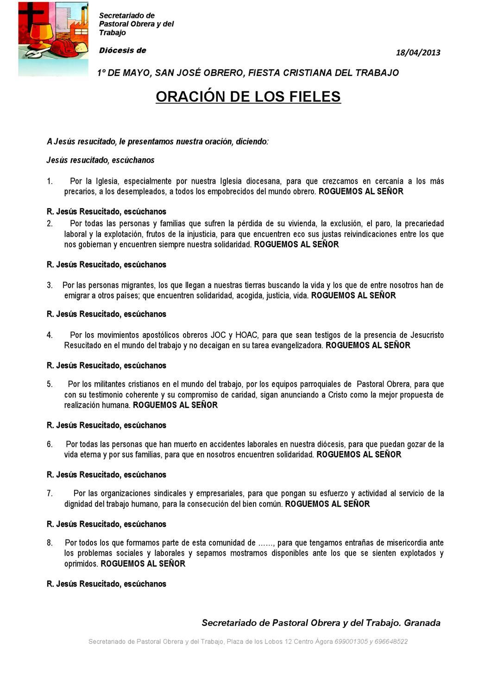 Oración De Los Fieles Para El 1 De Mayo De Pastoral Obrera Y Del Trabajo By Hermandad Obrera De Acción Católica Hoac Issuu