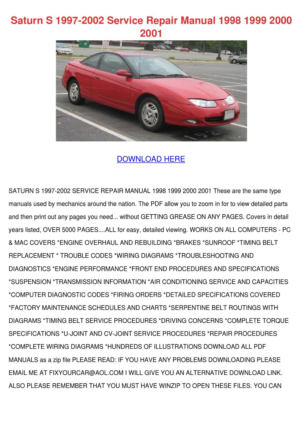Saturn S 1997 2002 Service Repair Manual 1998 by Song Rease - issuu