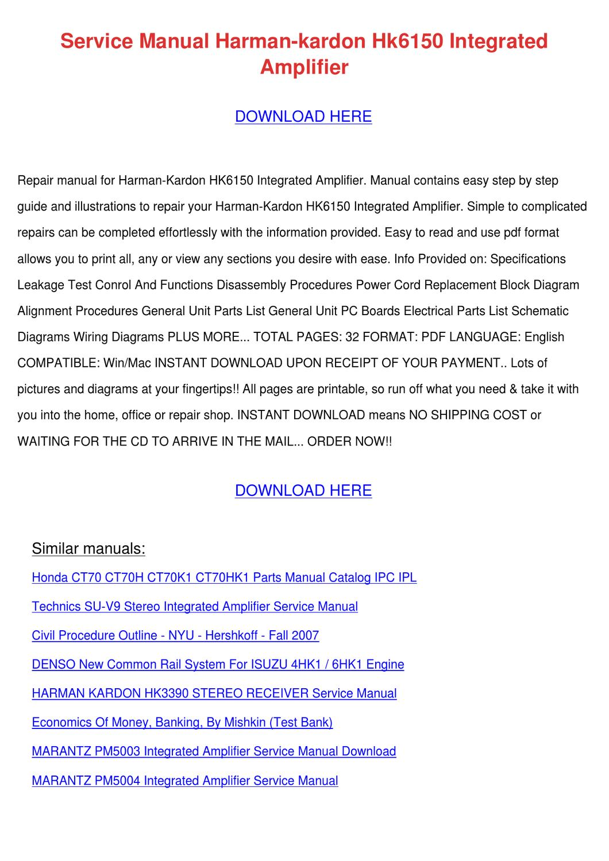 Service Manual Harman Kardon Hk6150 Integrate By Song Rease Issuu Wiring Diagram Honda Win