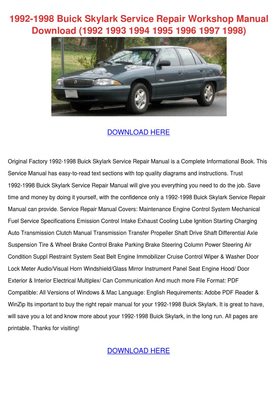 1992 1998 Buick Skylark Service Repair Worksh by Marilou Heap - issuu