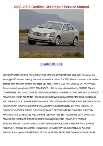 2003 Cadillac CTS Owners Manuals