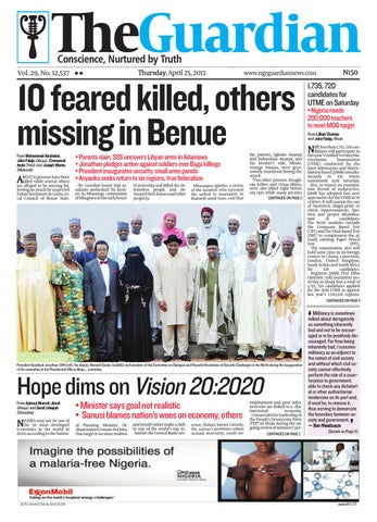 Thur 25 Apr 2013 The Guardian Nigeria by The Guardian