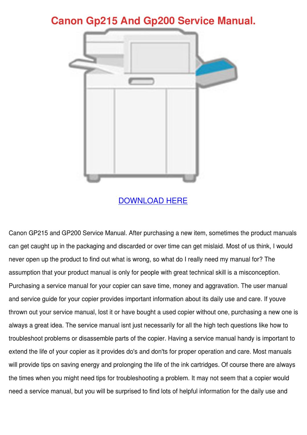 Canon Gp215 And Gp200 Service Manual by Marilou Heap - issuu