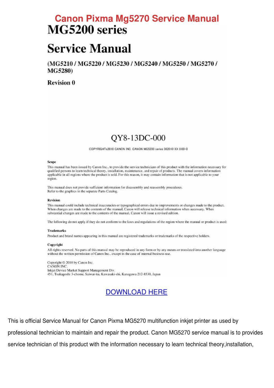Canon Pixma Mg5270 Service Manual by Marilou Heap - issuu