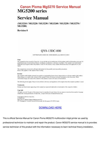 canon pixma mg5270 service manual by marilou heap issuu rh issuu com