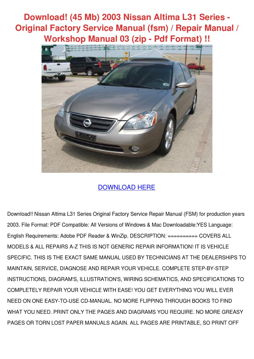 Download 45 Mb 2003 Nissan Altima L31 Series by Karre Giovanelli ...