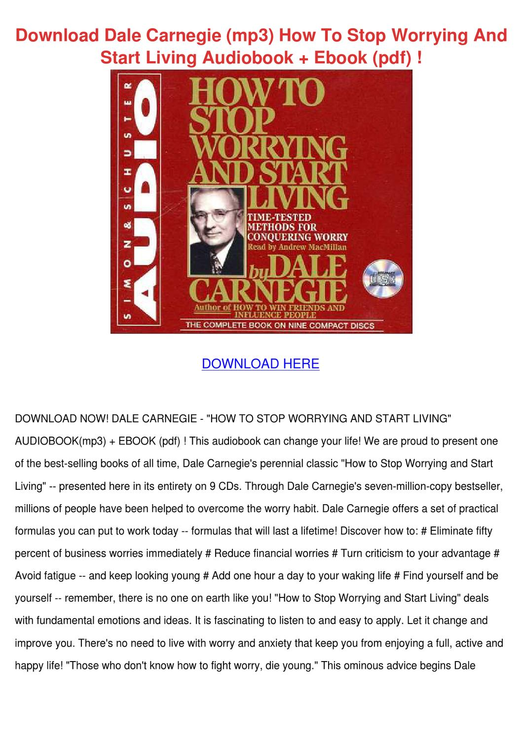 Download Dale Carnegie Mp3 How To Stop Worryi by Karre Giovanelli