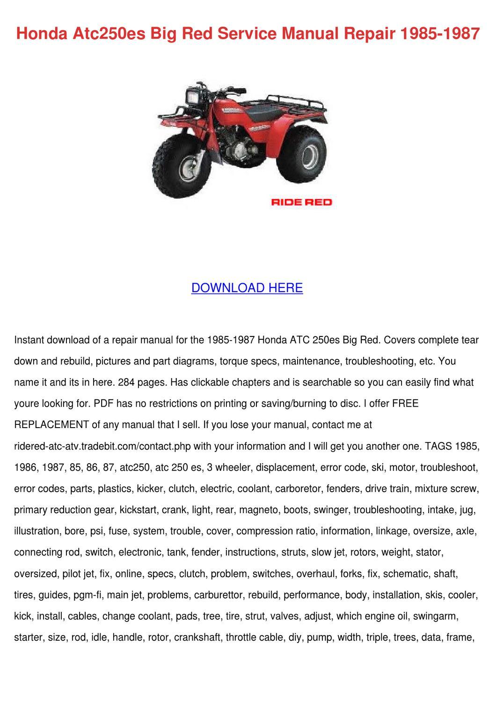 Honda Atc250es Big Red Service Manual Repair by Karre Giovanelli ...