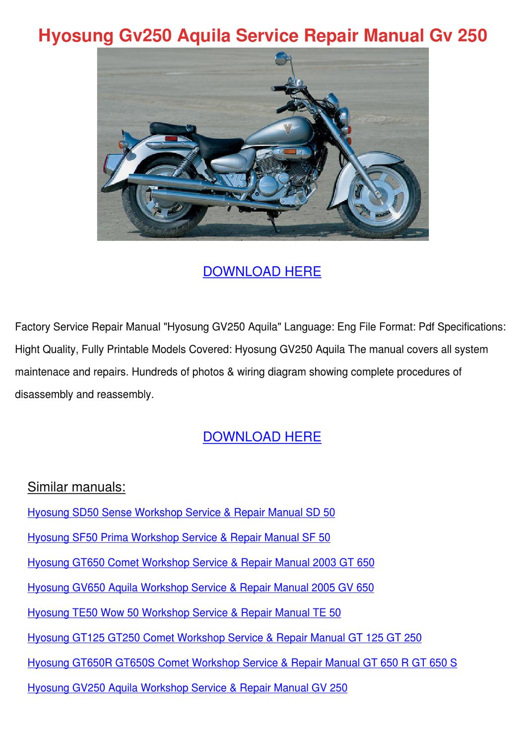 Hyosung Gv250 Aquila Service Repair Manual Gv by Karre Giovanelli - issuu