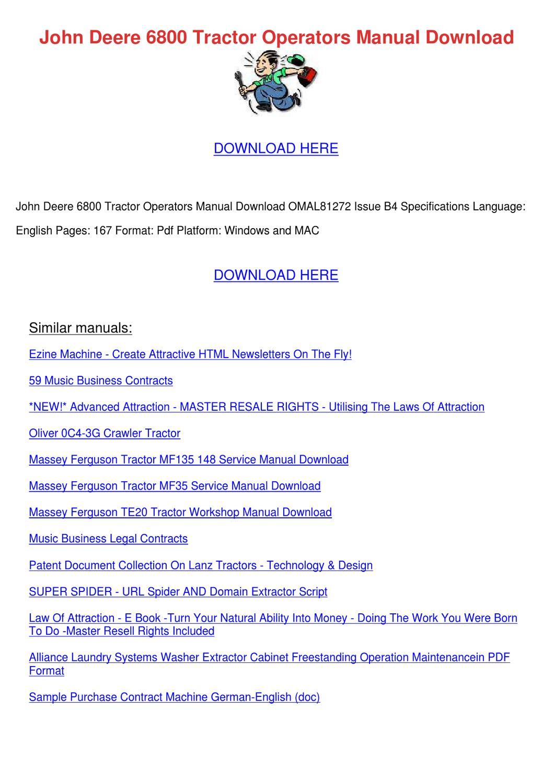 John Deere 6800 Tractor Operators Manual Down by Alanna Engblom ...